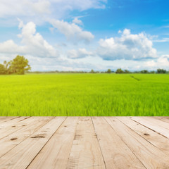abstract blurred paddy rice field and blue sky with wood table