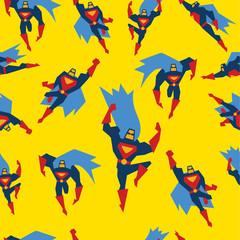 Superman Seamless Pattern Vector Illustration