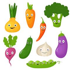 Funny Various Cartoon Vegetables. Vector Illustration Set
