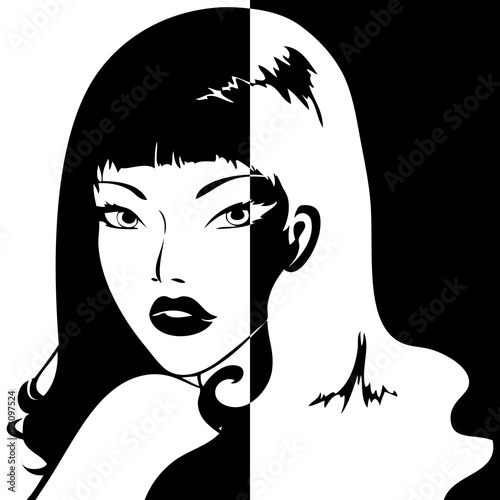 Moitié blanc et moitié asiatique
