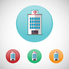 Hospital building vector icon set.