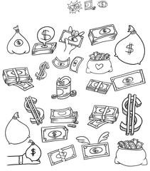 financial symbol doodle