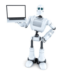 Robot holding blank screen laptop. Isolated. Contains clipping path