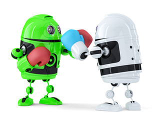 Toy robots fighting. Isolated. Contains clipping path