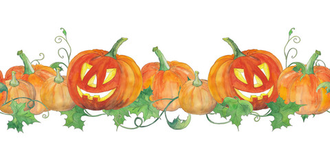 Seamless background with bright halloween pumpkins with green leaves. Original watercolor pattern.