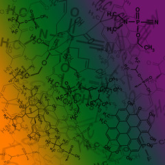 Image of chemical technology abstract background. Science wallpaper with school chemistry formulas and structures.