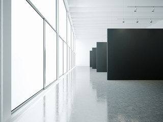 Empty museum interior with black canvas and windows. 3d render