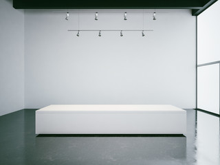 White gallery interior with empty walls, panoramic windows and