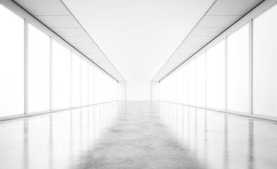 Empty open space gallery with concrete floor. 3d rendering