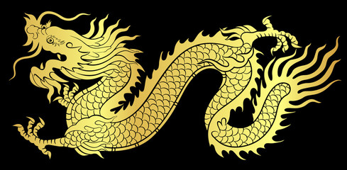 Gold of Chinese dragon crawling