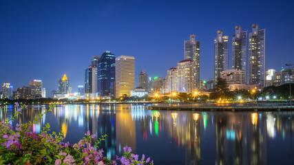 Business center, Bangkok city scape at night