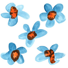 Blue - red watercolor flowers