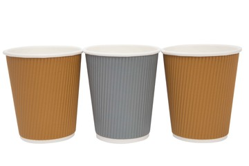 multicolored cardboard cups for hot drinks