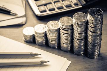 Heap coins stair