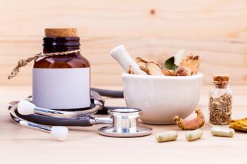 Capsule of herbal medicine alternative healthy care with stethos
