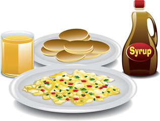 Illustration of a complete breakfast with mini pancakes, spanish style scrambled eggs, a bottle of syrup and a glass of orange juice.