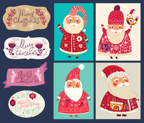 Holiday vector collection with Santa Clauses for Christmas and New Year decoration