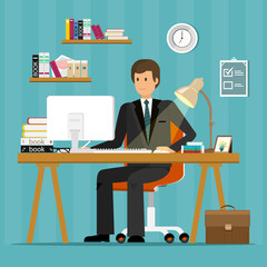 Vector flat character design of office worker. Businessman working in office, sitting at desk, looking at computer screen and writing.