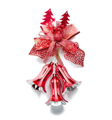 Red christmas bell decoration hanging on white