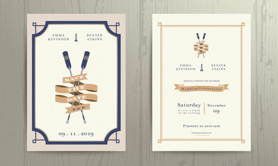 Vintage nautical twin paddles ribbon wedding invitation card tem