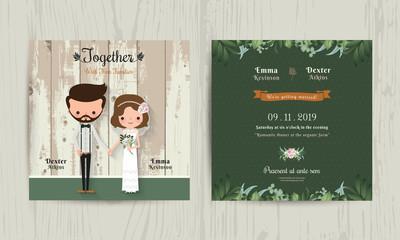 Wedding invitation card cartoon hipster bride and groom