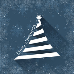 Christmas greeting card with snowflakes and Christmas tree. Flat design.