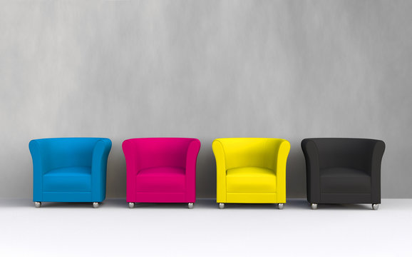 3D CMYK chairs