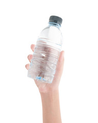 Hand holding bottle of water on white background , clipping path
