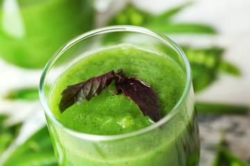 Healthy green smoothie, closeup