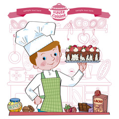 Boy-cook.Illustration.Separate layers of objects and background for easy editing
