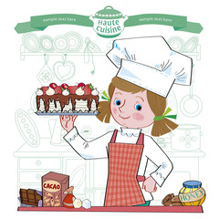 Girl-cook.Illustration.Separate layers of objects and background for easy editing