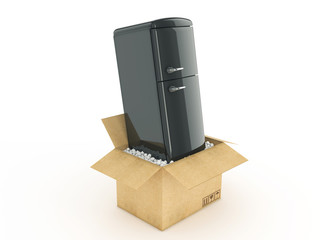 Refrigerator in cardboard box