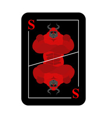 Playing card Satan. Conceptual new card devil. Dreaded red horne