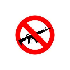Stop machine gun. It is forbidden to shoot. Frozen silhouette mi