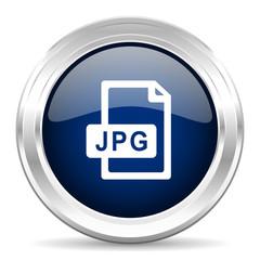 jpg file cirle glossy dark blue web icon on white background