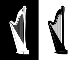 Celtic Harp Isolated on black and white background, Vector Illustration of National Irish Musical Instrument