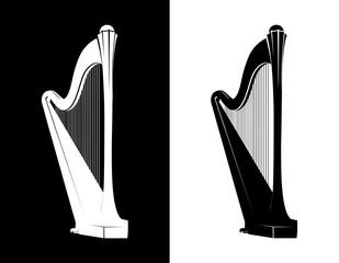 Celtic Harp Isolated on black and white background, Vector Illustration of National Irish Musical Instrument
