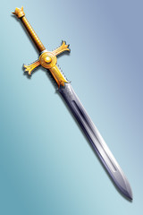 two-handed sword decorated with gold with the image of the sun