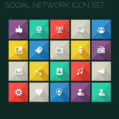 Modern social icons with long shadows