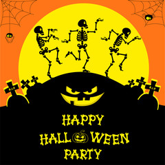 Vector Halloween banner with skeletons, pumpkin, scary face