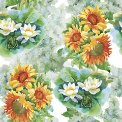 Seamless pattern with yellow sunflowers painted in watercolor on