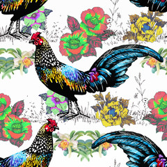 Seamless watercolor pattern with farm roosters silhouettes and