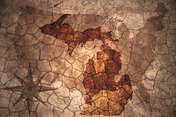 vintage Michigan state map