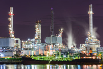 Tanker Oil refinery in Night time