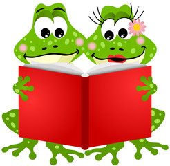 Cute frog couple reading a book