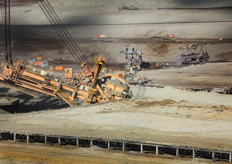 Excavator at the iron ore opencast mining