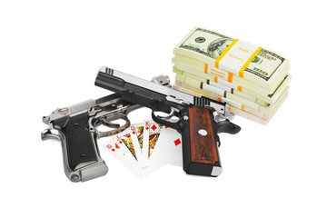 Guns money and playing cards
