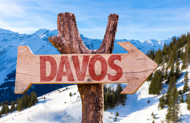 Davos wooden sign with winter background