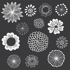 Chalkboard Floral Elements Set