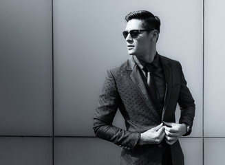Elegant young handsome man. Fashion portrait.